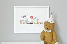 Animals on Parade UNFRAMED Nursery Art Print Picture Giclée Print babys bedroom Illustration Childrens decor Personalised with name Framed Prints, Art Prints, Nursery Prints, Nursery Drawings, Nursery Artwork, Nursery Paintings, Print Pictures, Nursery Pictures, Baby Pictures