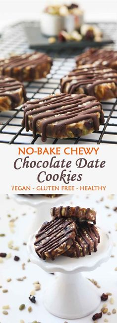 No-Bake Chewy Chocolate Date Cookies . No-Bake Chewy Chocolate Date Cookies Vegan Dessert Recipes, Delicious Vegan Recipes, Gluten Free Desserts, No Bake Desserts, Healthy Desserts, Whole Food Recipes, Cookie Recipes, Baking Recipes, No Bake Snacks