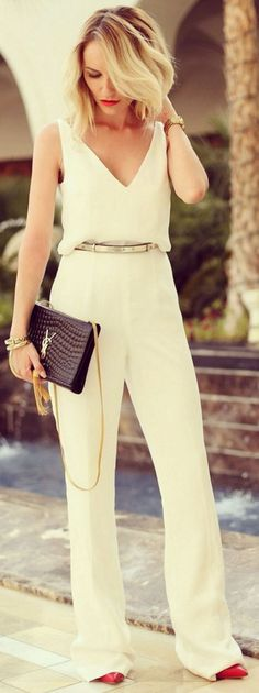 A roomy white jumpsuit that are a ~perfect fit~ for anyone