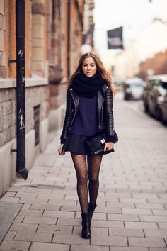 Navy blue sweater with black sleeves from IvyRevel // skirt from Other stories // Acne boots // leather jacket from Bodaskins