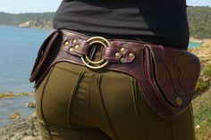 """En cuir ceinture utilitaire _ """"RING. BR « _ haute qualité fait main Designer hanche fond de poche. Mode de vie tsigane/Nomad/urbain [Belt.Travel.Hip Festival bourse]"""