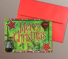A7 Christmas Cards set of 8 Merry Christmas mixed by HASKINesque