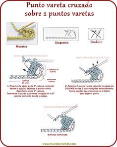 Punto vareta cruzado sobre 2 varetas a crochet o ganchillo