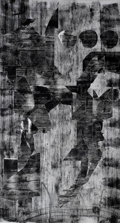 Office Supplies Incorporated, Black Falun - Series 8, 2014, Collage Chloroplast prints on panel, 42'' x 78''
