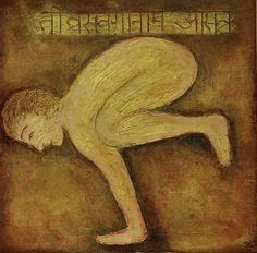 Bakasana, Sutra Tivrasamveganamasannah, mixed media on canvas, 50x50cm, available