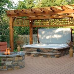 hot tub AND fire pit idea, ahh if I won the lottery...