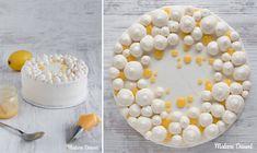 Linas Zitronentorte mit Lemon Curd besteht aus zwei Mandel-Zitronen-Böden, einer Mango-Maracuja-Füllung und einem feinen Sahnecreme-Mantel.