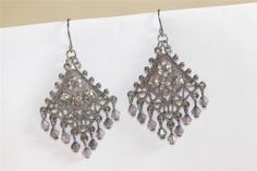 dark gray diamond shape dangle earrings wit white stones and beads KA11