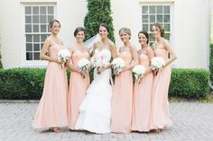 Doesn't the bridal party look gorgeous! #donnamorganbridesmaids #peachfuzz Krista Jone Photography