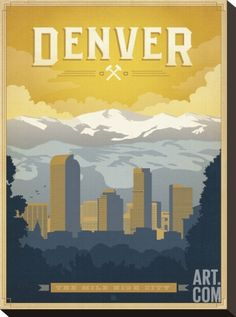 Denver: The Mile High City Stretched Canvas Print by Anderson Design Group at Art.com