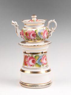 19th C. Paris Porcelain Hand Painted Veilleuse