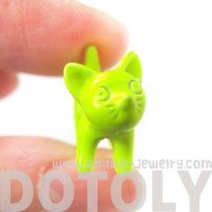Unique Kitty Cat Pet Animal Fake Gauge Stud Earrings in Neon Yellow | dotoly - Jewelry on ArtFire