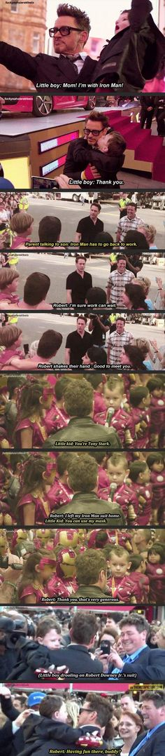 Funny pictures about Robert Downey Jr. loves his young fans. Oh, and cool pics about Robert Downey Jr. loves his young fans. Also, Robert Downey Jr. loves his young fans. Robert Downey Jr., Robert Downey Jr Young, Funny Marvel Memes, Dc Memes, Marvel Quotes, Thanos Avengers, Marvel Avengers, Superfamily Avengers, Avengers Symbols