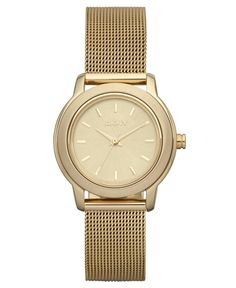 DKNY Watch, Women's Gold Ion Plated Stainless Steel Mesh Bracelet 28mm NY8553