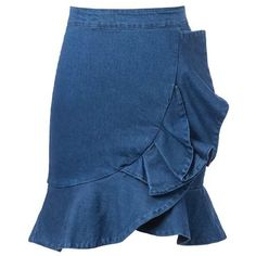 Chicnova Fashion Ruffled Denim Skirt (20 AUD) ❤ liked on Polyvore featuring skirts, bottoms, ruffle skirt, flounce skirt, flouncy skirt, denim skirt and frill skirt
