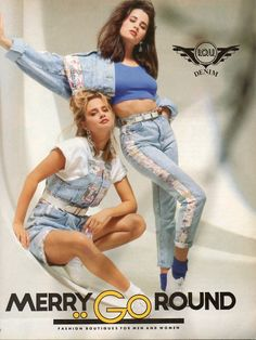 Merry Go Round clothing store ad. High waist jeans, overall, floral denim, slouch socks and a cropped jacket all in one ad!