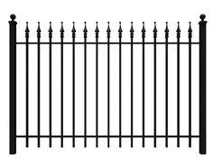 Wrought Iron Fence | Iron Fence Shop   This is the fence in that photo you have. Do you want the arrow finials on each picket or would you prefer a smooth rail top?