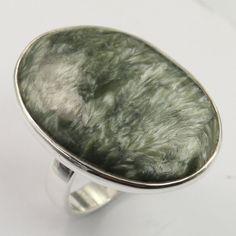 Genuine SERAPHINITE Cabochon Gemstone 925 Solid Sterling Silver Ring Size US 9 #SunriseJewellers #Fashion
