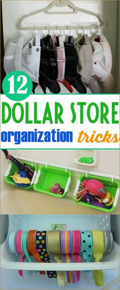 12 Dollar Store Organization Tricks.  Tips and ideas on organizing your home without breaking the bank.