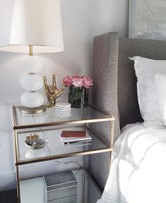 Get inspired by these glass nightstand ideas for your master decoration! Nightstand Ideas, Dresser Mirror, Unique Nightstands, White And Gold Nightstand, Round Nightstand, Gold Dresser, Bedroom Dressers, Glass Bedroom Furniture, Home Decor Ideas