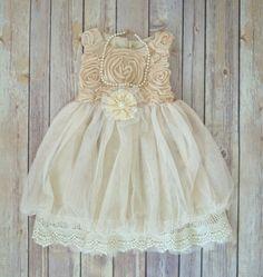 Beige Ivory Lace Flower Girl Dress, Boho Flower Girl dress,  Rustic Wedding dress, Easter dress,  Vintage Girls Dress, Birthday dress
