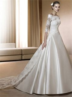 Elegant Off Shoulder 1/2 Sleeves Lace Satin Wedding Dress..