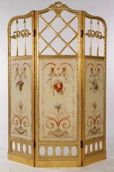 Three panel gilt wood screen with bows and arrows and hand-painted floral inset panels below, circa Ht: Width: Room Screen, Paneling, Japanese Screen, Room Divider Screen, Screen Painting, Hand Painted, Painted Furniture, Dressing Screen, Miniature Furniture