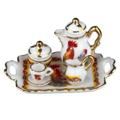 Dollhouse Miniature Tuscan Rooster Tea Set on Tray by Reutter Porzellan Dollhouse Kits, Dollhouse Miniatures, Rooster Kitchen, Barbie Accessories, Barbie House, Dining Room Furniture, Tea Cups, Tray, Roosters