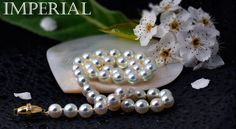 "Imperial Crown Akoya pearls are among the worlds finest. In Japan pearls of this caliber are referred to as ""Hanadama"" which translated to ""spherical flower""."