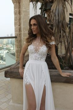 Hot Sheer Neck Summer Beach Wedding Dress With Side Slits on Luulla