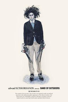Edward Scissorhands wears Band Of Outsiders, illustration by John Woo. Superman, Star Wars Characters, Movie Characters, Tim Burton, Eduardo Scissorhands, John Woo, Hong Kong, Johny Depp, Poster Drawing
