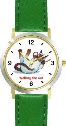 Siamese Cat Cartoon or Comic - JP Animal - WATCHBUDDY® DELUXE TWO-TONE THEME WATCH - Arabic Numbers - Green Leather Strap-Size-Children's Size-Small ( Boy's Size & Girl's Size ) WatchBuddy. $49.95