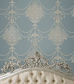 Forget the paint, I want this headboard!   Stencil Duchess Damask  Reusable stencils by CuttingEdgeStencils, $42.95