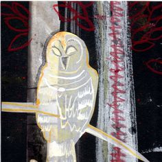 White Owl in Red Forest--Original Owl décor, mixed media owl wall art, animal art, owl home décor by Kim Northrop by CollagesbyKim on Etsy