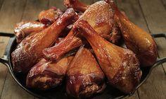 Steven Raichlen's Project Smoke gives turkey legs the ham treatment—a soak in a brown sugar brine followed by a slow-smoke with apple wood.
