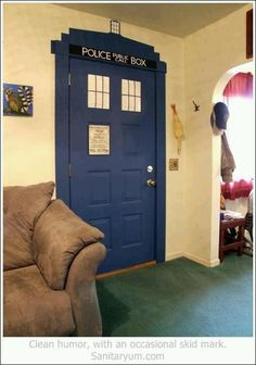 tardis door   a doctor who themed bedroom that is bigger on the inside?