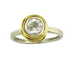 Nested White Topaz Engagement Ring with Gold Nest   Gemstone Engagement Rings   Turtle Love Co.