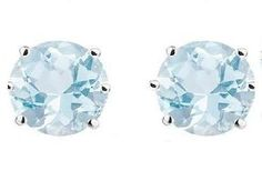 Swarovski Crystal Stud Earrings : Aquamarine Sapphire in Sterling