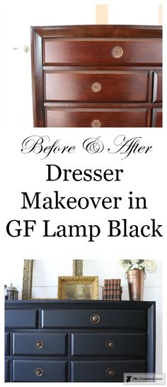 Painted Dresser In General Finishes Lamp Black Painting