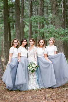 2018 Elegant Lace Dust Blue Long Bridesmaid Dresses Floor Length Boho Country Wedding Guest Wear Party Maid of Honor Gowns Formal - Prom Dresses Design Charcoal Bridesmaid Dresses, Champagne Bridesmaid Dresses, Lace Bridesmaids, Wedding Bridesmaid Dresses, Wedding Party Dresses, Bridesmaid Skirt And Top, Tulle Wedding, Spring Wedding, Grey Tulle Skirt