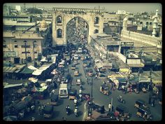 Aerial View  from Charminar in Old City,Hyderabad,India.  @copyright image-Sioli Ghosh