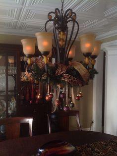 Christmas Chandelier: I have this identical chandelier in my dining room - so doing this... GORGEOUS!!  ~JEN