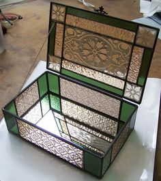 Country Tea Box by AbsoluteGlass. Hinge placement, zinc came