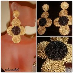 Crocheted disc earrings by cabcrochet on Etsy, $30.00 www.facebook.com/cabcrochet
