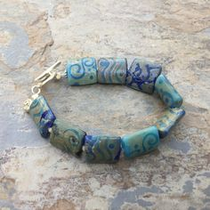 Blue Bohemian Glass Bracelet, Boho Bracelet with Hill Tribe Sterling Silver