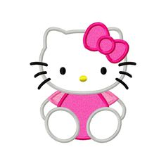 Kitty Sitting Applique Machine Embroidery Design 4x4 5x5 5x7 6x10 8x8 Hello Flower HK INSTANT DOWNLOAD by AppCandyEmbroidery on Etsy