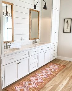 shiplap on the vanity wall, storage, lights