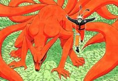 """Kurama (九喇嘛, Kurama), more commonly known as the Nine-Tails (九尾, Kyūbi; English TV """"Nine-Tailed Fox""""), is a tailed beast that was first sealed into Mito Uzumaki after the battle at the Valley of the End, then into Kushina Uzumaki after Mito's death. During its attack on Konoha, Minato Namikaze sacrificed his life by splitting the fox's chakra into two: sealing the Yin half within himself and sealing the Yang half within his son. http://naruto.wikia.com/wiki/Kurama"""