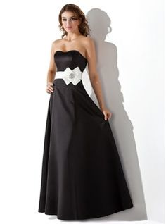 Empire Sweetheart Floor-Length Satin Bridesmaid Dress With Sash Beading Flower(s) (007004287) - JJsHouse