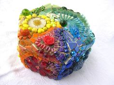 The Rainbows End: Mosaic Jewelry Box / Treasure Chest in all the Colours of the Rainbow via Etsy